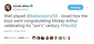 Zainab Abbas called Babar Azam son of coach Mickey Arthur