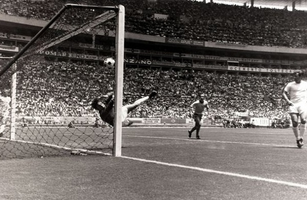Gordon Banks saves certain goal from Pele during 1970 world cup