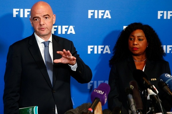 FIFA President Gianni Infantino and Secretary General Fatma Samoura