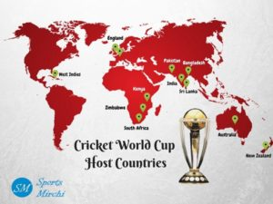 ICC World Cup host countries on map