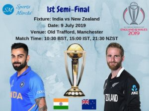 India vs New Zealand 1st semi-final of ICC world cup 2019