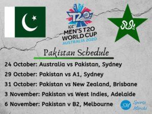 Pakistan team full schedule twenty20 world cup 2020 photo