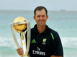 Ricky Ponting holding cricket world cup trophy