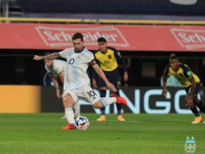 Lionel Messi scored penalty against Ecuador in 2022 world cup qualifiers